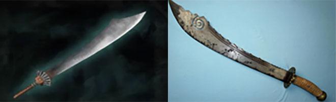 게임 속 칼 하후돈 무기와 실제 박도 이미지