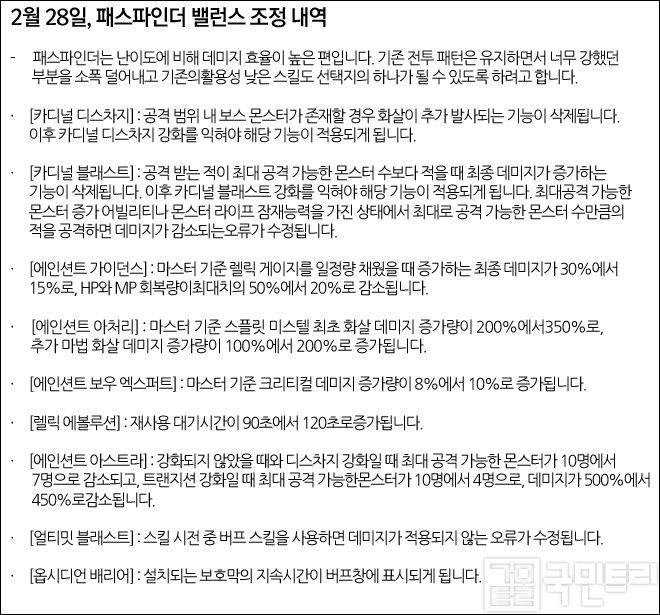 지난 1.2.313 업데이트 패스파인더 조정 내역