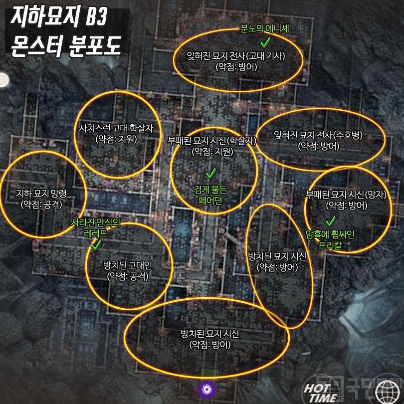 방치된 지하묘지B3 몬스터 분포도