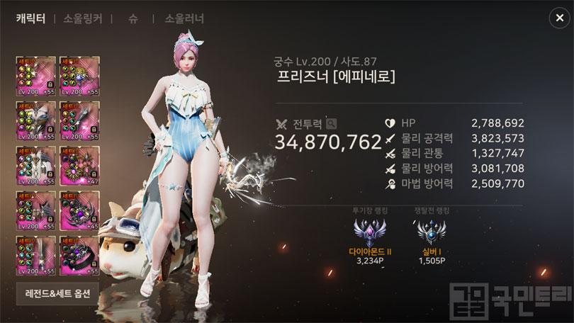 궁수 랭킹 1위를 차지한 프리즈너님 (자료: 국민트리 촬영)