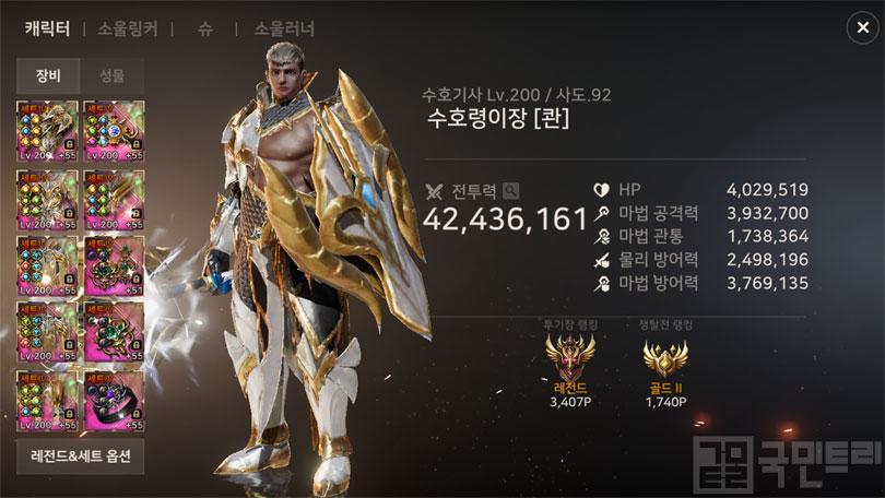 금주 캐릭터 전투력 랭킹 1위를 차지한 수호령이장님 (사진: 국민트리 촬영)