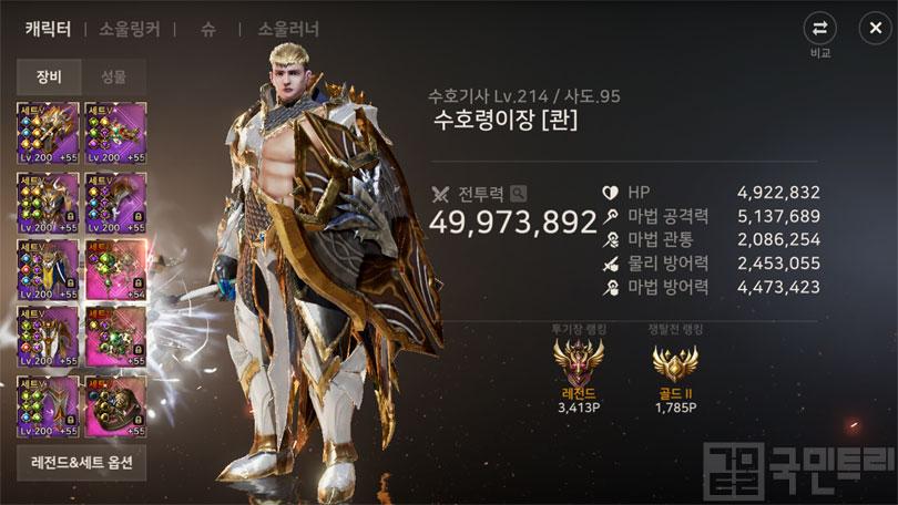 캐릭터 전투력과 레벨 1위를 차지한 수호령이장님 (사진: 국민트리 촬영)